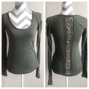 Miss Me Olive Green Sequin Top M EUC